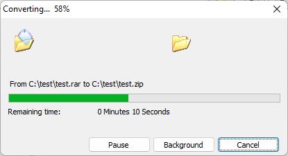 Convert rar file to zip