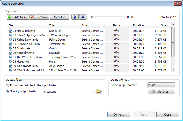 Convert audio files to flac