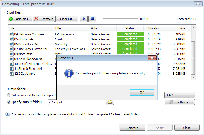 convert iso to flac