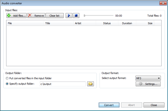 Convert audio files to mp3