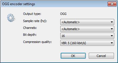 Convert audio files to ogg