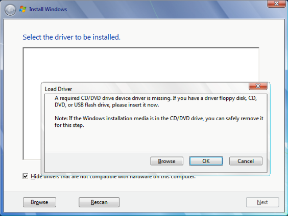 win7 cd dvd driver missing