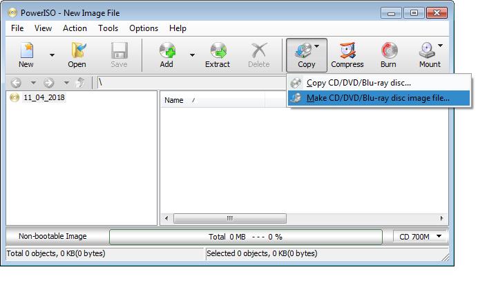 Make BIN file from CD, DVD, or Blu-ray disc