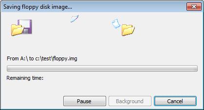 Write floppy disc image file to floppy disc