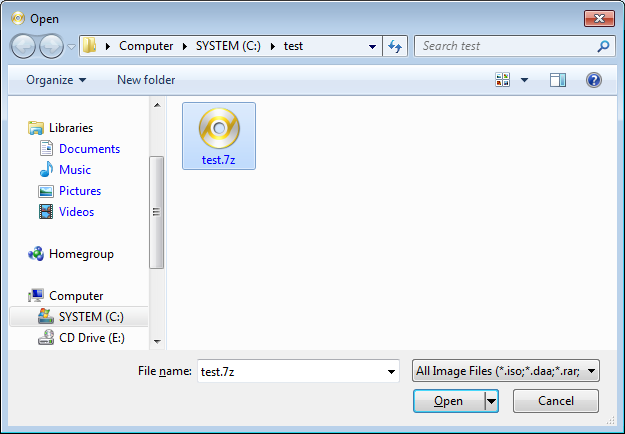 Navigate To The Folder Containing 7z File Select Then Click Open Button