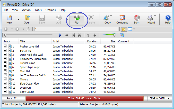 Select The Audio Tracks Which You Want To Rip Wma Files And Click Button On Toolbar